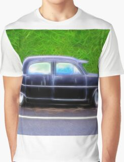 Black Retro Ford Car on Road Graphic T-Shirt