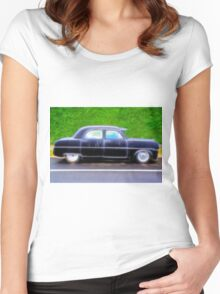 Black Retro Ford Car on Road Women's Fitted Scoop T-Shirt