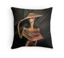 LADY IN GOLD ON A WINDY DAY - THROW PILLOW Throw Pillow