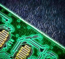 Electronic Green Neon Computer Board by NeonAbstracts