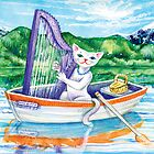 Miss Kitty and her harp by didielicious