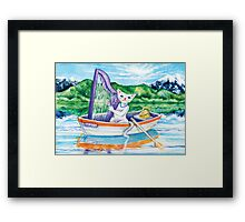 Miss Kitty and her harp Framed Print