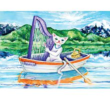Miss Kitty and her harp Photographic Print