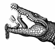 Crocodile Reading surreal pen ink black and white drawing by Vitaliy Gonikman