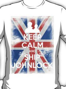 KEEP CALM and Ship Johnlock - UJ - White T-Shirt