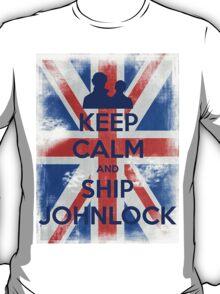 KEEP CALM and Ship Johnlock - UJ - Blue T-Shirt