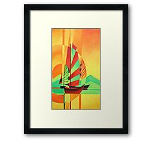Chinese Junks Sail to Shore Framed Print