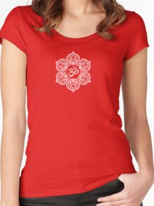 Pink Lotus Flower Yoga Om Women's Fitted Scoop T-Shirt
