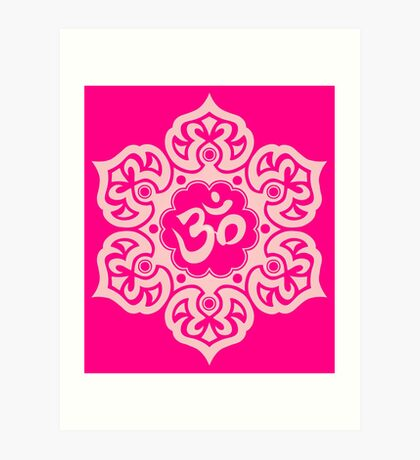 Pink Lotus Flower Yoga Om Art Print