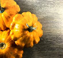 Three Pumpkins on Wood by NeonAbstracts