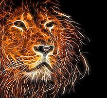 Neon Strong Proud Lion on Black by NeonAbstracts