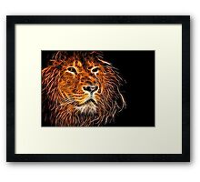 Neon Strong Proud Lion on Black Framed Print