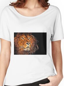 Neon Strong Proud Lion on Black Women's Relaxed Fit T-Shirt