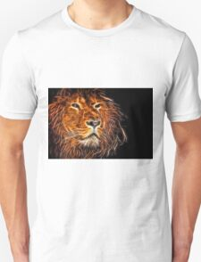 Neon Strong Proud Lion on Black T-Shirt