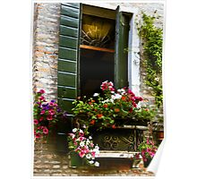 Italian window with shutters and flower box Poster