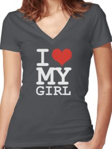 I love my girl Women's Fitted V-Neck T-Shirt