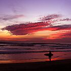 California Beach Sunset - Surfer Silhouette by crhodesdesign