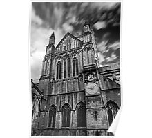 Clouds over Wells Cathedral in Black and White Poster