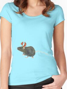 Christmas Rat by Anne Winkler Women's Fitted Scoop T-Shirt