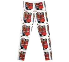 Vintage Christmas Greetings from Mr and Mrs Claus Leggings