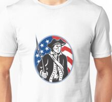 American Patriot Minuteman With Bayonet Rifle And Flag Unisex T-Shirt