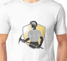 Coal Miner With Pick Ax Shield Retro Unisex T-Shirt