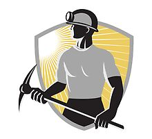 Coal Miner With Pick Ax Shield Retro by patrimonio