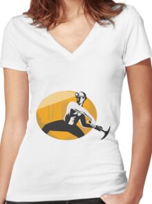 Coal Miner With Pick Ax Striking Retro Women's Fitted V-Neck T-Shirt