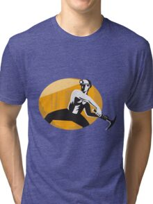 Coal Miner With Pick Ax Striking Retro Tri-blend T-Shirt