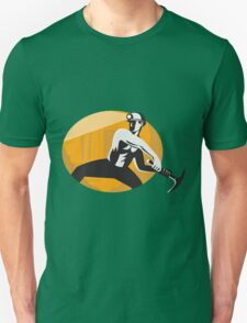 Coal Miner With Pick Ax Striking Retro Unisex T-Shirt