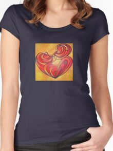 Lovers Kiss And Their Bodies Form A Love Heart Women's Fitted Scoop T-Shirt