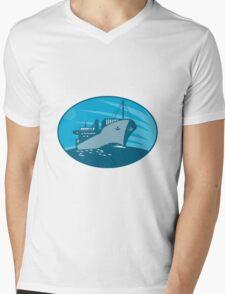 Container Cargo Freighter Ship Retro Mens V-Neck T-Shirt