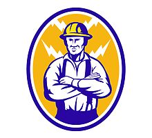 Electrician Construction Worker Lightning Bolt by patrimonio