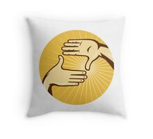 Hands Framing Shot aRetro Style Throw Pillow