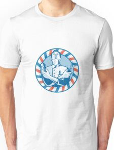 Barber With Clipper Hair Cutter and Scissors Unisex T-Shirt