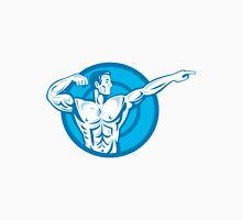 Bodybuilder Flexing Muscles Pointing Side Retro Unisex T-Shirt