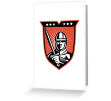 Knight Crusader With Sword Shield Greeting Card