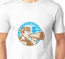Movie Film Director With Bullhorn And Camera Retro Unisex T-Shirt