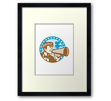 Movie Film Director With Bullhorn And Camera Retro Framed Print