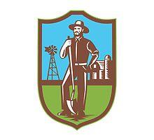 Farmer With Spade Windmill Farm Barn Retro by patrimonio