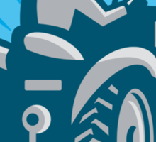 Farmer Plowing With Tractor Retro Sticker