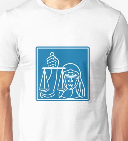 Lady Blindfolded Holding Scales of Justice Unisex T-Shirt