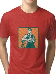 Photographer With DSLR Camera and Video Retro Tri-blend T-Shirt