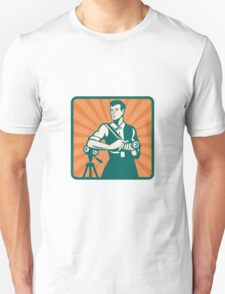 Photographer With DSLR Camera and Video Retro Unisex T-Shirt