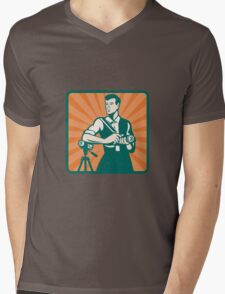 Photographer With DSLR Camera and Video Retro Mens V-Neck T-Shirt