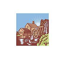 Water Wheel Mill House Retro Photographic Print