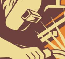 Welder Worker Welding Torch Retro Sticker