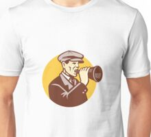 Man Shouting With Vintage Bullhorn Retro Unisex T-Shirt