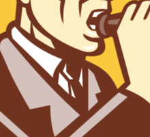 Man Shouting With Vintage Bullhorn Retro Sticker