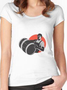 Man Carrying Wine Barrel Cask Keg Retro Women's Fitted Scoop T-Shirt